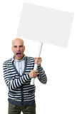 Angry man screams and holds a blank placard. On a stick.. Isolated on white background Royalty Free Stock Image