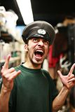 Angry man shout. Adult man in military service cap uniform shouting Royalty Free Stock Images