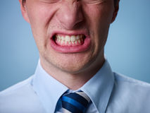 Angry man shouting at camera. Close up Stock Images