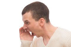 Angry man shouting loudly Stock Images