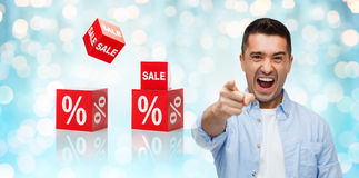 Angry man shouting and pointing finger on you Royalty Free Stock Images