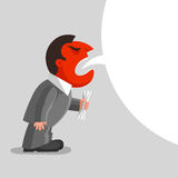 Angry man is shouting. Angry man with red head is shouting, with paper document kept in his hand. Enraged boss concept Royalty Free Stock Image