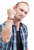 Angry man showing fist royalty free stock image