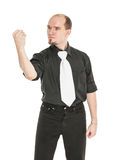 Angry man showing his fist isolated. On white Stock Images