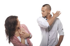 Angry Man Slapping Woman Stock Image