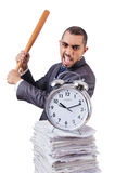 Angry man with stack of papers and baseball bat isolated Stock Photography