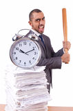 Angry man with stack of papers and baseball bat isolated Royalty Free Stock Photos