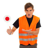 Angry man with stopping sign Royalty Free Stock Image