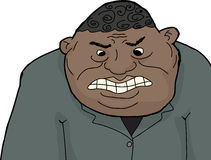 Angry Man in Suit. Cartoon of mad adult black businessman with clenched teeth Royalty Free Stock Photos