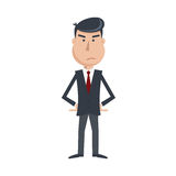 Angry man in suit and tie with arms akimbo. Royalty Free Stock Photo