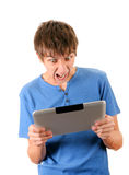 Angry Man with Tablet Stock Images