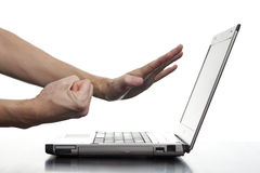 Angry Man Threatening Computer Stock Photography