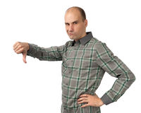 Angry man with thumb down. Isolated on white background Royalty Free Stock Photo