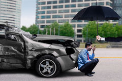 Angry man after traffic accident Royalty Free Stock Photos