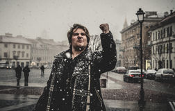 Angry man in winter Royalty Free Stock Photo
