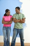 Angry man and woman. stock images