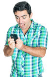 Angry man yelling at his mobile phone. (isolated on white Stock Photos