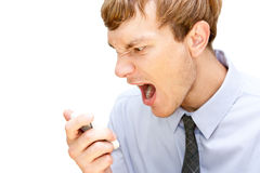 Angry manager. Screaming over the phone Stock Photography