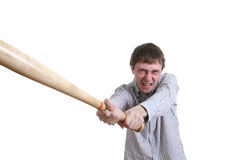 Angry manager. Angry office manager with baseball bat Stock Images