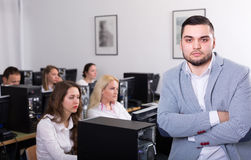 Angry manager displeased of employees Royalty Free Stock Photos