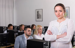 Angry manager displeased of employees royalty free stock image