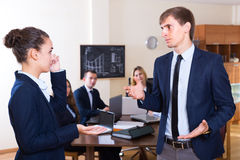 Angry manager and employee at office royalty free stock images
