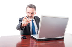 Angry manager or lawyer indicate you Stock Images