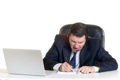 Angry Manager with notebook Stock Image
