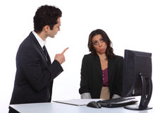 Angry Manager with secretary Royalty Free Stock Photos