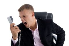 Angry manager shouting on phone Stock Image