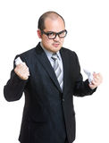 Angry manager tear off contract. Isolated on white Stock Images