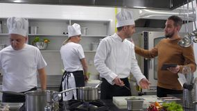 Angry manager yells at kitchen Chef he quits job