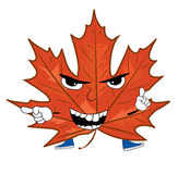 Angry mapple leaf cartoon Royalty Free Stock Image