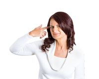 Angry mature woman, gesturing are you crazy Royalty Free Stock Photos