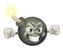 Angry mean bomb cartoon mascot. An illustration of mean or angry looking cartoon bomb character with a lit fuse Stock Images