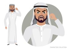 The evil Arab Man character threatens with his hand. Angry men. Negative Emotions. Bad Days. Bad Mood Stressful men Stock Images