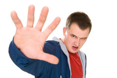 Angry men say stop with palm up Royalty Free Stock Photos