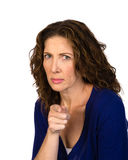 Angry middle aged woman isolated Stock Images