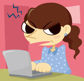 Angry middle-aged woman with a laptop stock illustration