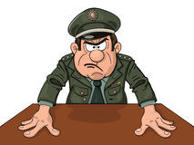 Angry military general. At the table vector illustration