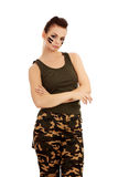 Angry military woman with folded arms Royalty Free Stock Photos