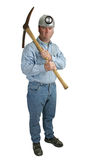 Angry Miner. A full body view of a coal miner with a pick-ax and an angry expression Stock Image