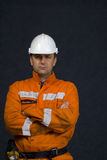Angry miner. Concept photo: Angry miner looking at the camera stock photo Stock Images