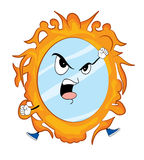 Angry mirror cartoon Royalty Free Stock Images