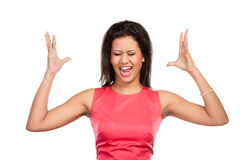 Angry mixed race woman screaming. Royalty Free Stock Image