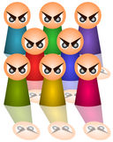 Angry mob. Symbolic and abstract characters with angry eyes Royalty Free Stock Photo