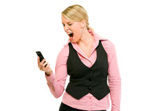 Angry modern business woman shouting on mobile Royalty Free Stock Photos