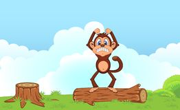 Angry Monkey Cartoon standing on the wood in a garden Royalty Free Stock Photo