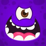 Angry Monster One Eye Face. Vector illustration. Halloween cartoon monster royalty free stock images