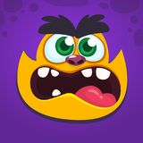 Angry monster screaming. Cartoon vector illustration of spooky monster face avatar. Big set of monster faces.  stock illustration